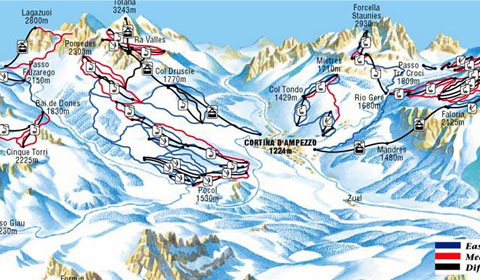 Cortina tofana piste map